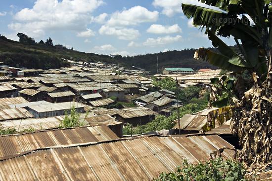 Kibera, Africa's second largest slum.  Nairobi District, Kenya.