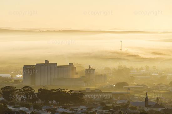 A misty dawn over the Bredasdorp grain silo's