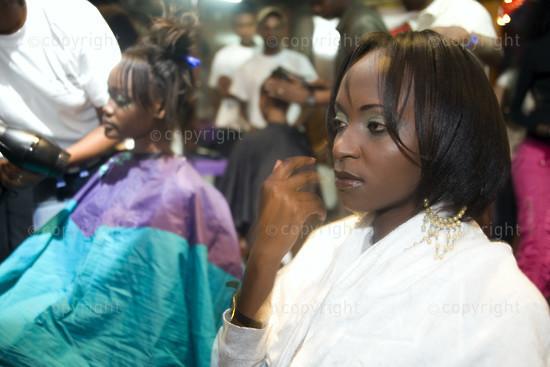 Backstage at a fashion shoot, Nairobi, Kenya.