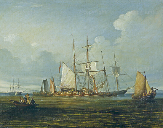 The Conch in Table Bay landing Malays and Burghers on their Return from the Frontier Wars, 1847