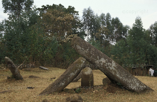 Tututi stelae field marking ancient graves, Dilla, Ethiopia