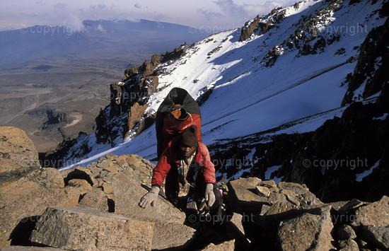 Porter carrying luggage to Kibo crater,  Mount Kilimanjaro