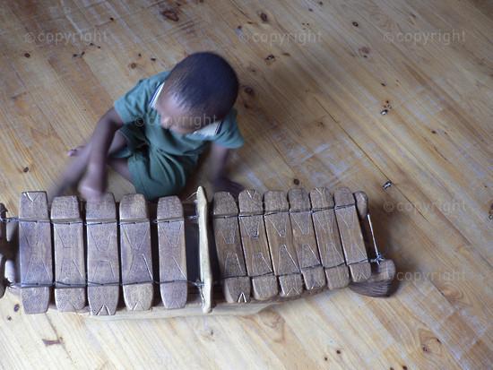 Boy playing a marimba I
