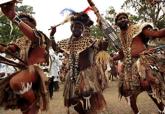 Zulu men dancing